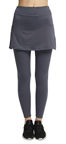 Westkun Donna Gonna Pantalone da Corsa alla Caviglia Sport Yoga Modesta da Tennis y Golf Calzamaglia Gonnapantalone Morbido e Traspirante Leggings 2 in 1(Grigio,M)