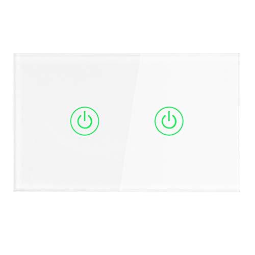 Interruttore luce WiFi, interruttore dimmer Smart Wall, interruttore touch wireless telecomando intelligente compatibile con Alexa Google Assistant e IFTTT, nessun hub richiesto(2 vie)