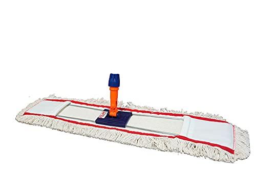 Clim Profesional - Mopa plana industrial de algodón de 80 cms con bastidor abatible para limpieza en seco y en húmedo