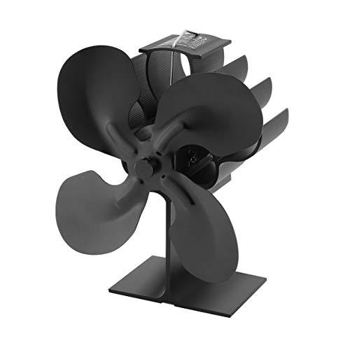 Kurphy Ventilador de estufa de 4 hojas para leña/quemador de leña/chimenea - Eco - Negro