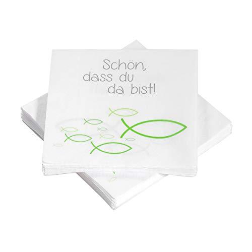 20 Servietten Fische Ichthys 'Schön, DASS du da bist!' 33x33 cm - grün - für Kommunion, Taufe oder andere Festliche Anlässe