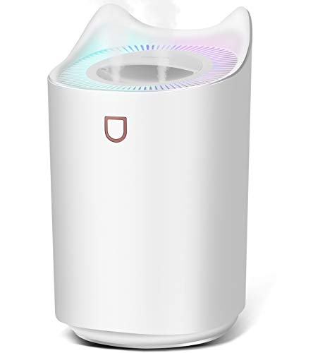 Cool Mist Humidifiers for Bedroom USB,SIXKIWI,Easy Clean/Top Fill/Never Leak/None Mildew/Dual Sprayer,3L 20hrs for Large Room,Colorful Night Light Auto Off for Home Office Baby(White)