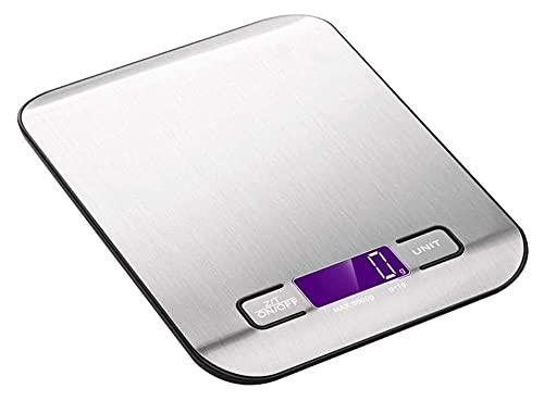 M3 Decorium Escalas de Cocina de Alimentos Digitales Balanzas de cocción de Acero Inoxidable electrónicas con Pantalla de Plataforma y luz de Fondo (Color : 18x14x2cm|Silver)