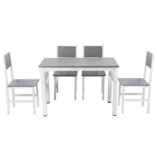 Mesa y sillas de Comedor Juego de 5 Muebles de Mesa de Cocina Juego de Comedor Rectángulo Moderno Comedor Mesa de Madera y Patas de Metal Mesa de Desayuno con 4 sillas Altas