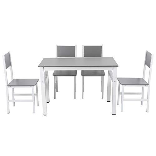 Mesa y sillas de Comedor Juego de 5 Muebles de Mesa de Cocina Juego de Comedor Rectangulo Moderno Comedor Mesa de Madera y Patas de Metal Mesa de Desayuno con 4 sillas Altas