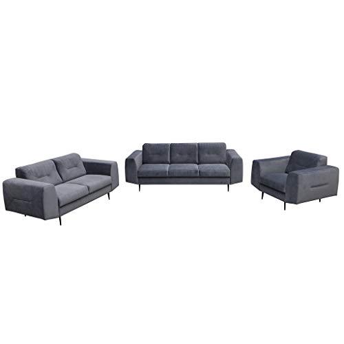 MOEBLO Polstergarnitur Sofa 3 Sitzer 2 Sitzer und Sessel Sofa Couch Garnitur Stoff Samt (Velour) Glamour Wohnlandschaft - 321 - Treviso (Dunkelgrau)