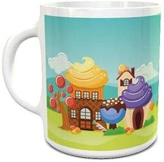 White Ceramic Coffee Mug with Cartoon Home 111 Design
