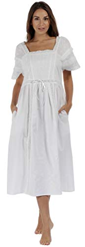 The 1 for U Nightgown 100% Cotton Vintage Victorian Nightie - Amanda (Small, White)