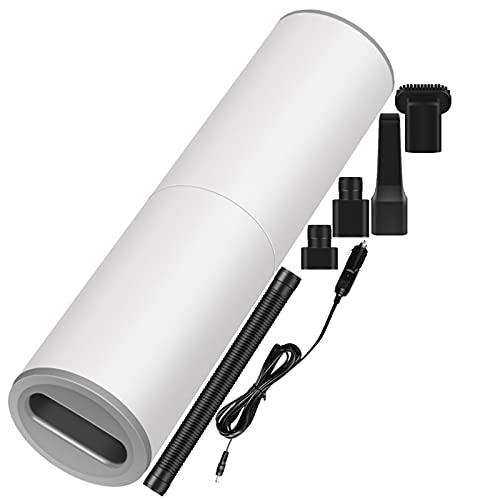 ZEIYUQI Aspirador de Coche Portátil Aspirador Automático de Mano con Cable Coche Hogar Húmedo y Seco Mini Limpiador de SuccióN Fuerte de Doble Uso,White