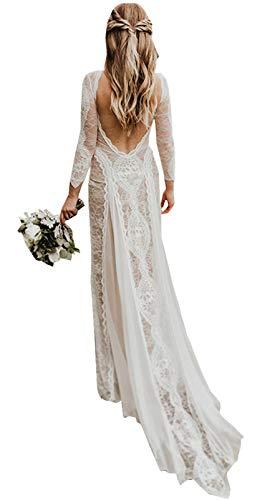 Damen Strand Brautkleider für Braut 2020 Vintage Lange Ärmel Spitze Bohemian Brautkleid - - 38