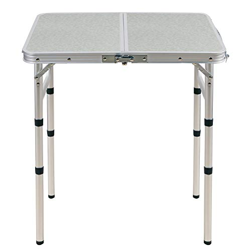 CAMPMOON Small Folding Camping Table 2 Foot, Lightweight Portable Aluminum Folding Table with Adjustable Legs, Great for Outdoor Cooking Picnic, White 3 Heights