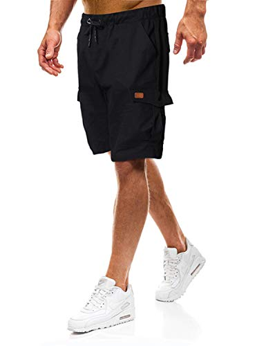 Lantch Herren Shorts Herren Kurze Hose Shorts Männer Shorts Herren Sweatshorts Sportshorts Camouflage (Schwarz, M)