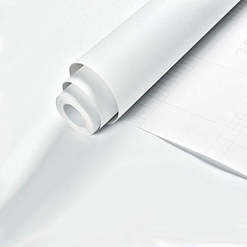 Kitchen-dream Papel pintado de color sólido, papel pintado de PVC autoadhesivo, papel pintado blanco autoadhesivo, papel pintado de dormitorio para paredes, revestimiento de estante