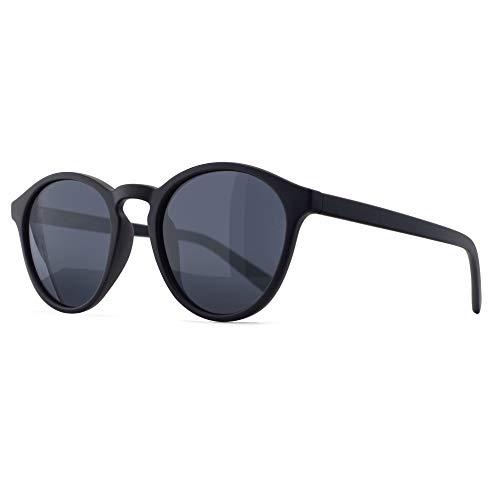 SUNGAIT Occhiali da Sole Rotondi Classici Unisex Polarizzati Occhiali da Sole Stile Vintage Retrò Protezione UV (Montatura Nera (Finitura Opaca) - Lenti Grigie)