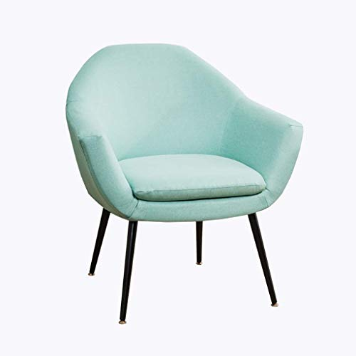 ZXL Meeting Room Linen Fabric Accent Chair with Metal Legs Armchair Sofa Bedroom Living Room Dining Kitchen Reception Lounge Upholstered Chair Contemporary Modern (Color : Blue)