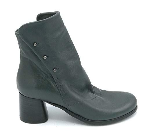 Lilimill 6734 enkellaarsjes Nappa groen grijs drukknopen ritssluiting ronde hak 5 cm - schoenmaat 40 groen grijs