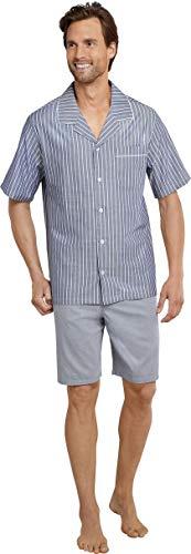 Seidensticker Herren Pyjama kurz Zweiteiliger Schlafanzug, Blau (Blau 800), Small (Herstellergröße: 048)