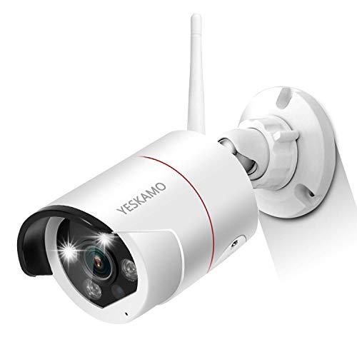 YESKAMO 3MP Überwachungskamera mit Flutlicht,2304 * 1296 HD WiFi IP Cameras Kabellos Kamera für Funk Überwachungssystem mit AI Bewegungserkennung,farbig Nachtsicht,Zweiweg Sprechen & Audio Aufnahme