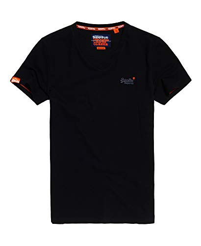 Superdry Herren ORANGE LABEL VNTGE EMB VEE TEE T-Shirt, Schwarz (Black 02A), Large