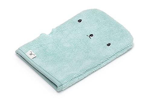 MY MEMI Manopla de baño de 15 x 20 cm, menta polvorienta 100% fibra de bambú 500 g/m2, manopla de baño y paño de jabón