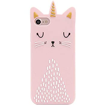 Artbling Cat Unicorn Case for iPhone 6/6S/7/8 4.7  Silicone 3D Cartoon Animal Pink Cover,Kids Girls Cool Fun Lovely Cute Cases,Kawaii Soft Rubber Unique Character Fashion Funny Shell for iPhone6 7 8