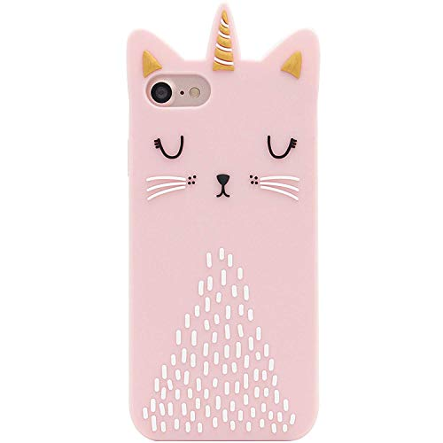 Artbling Cat Unicorn Case Compitable with iPhone 5 5S 5C SE Silicone 3D Cartoon Animal Pink Cover,Kids Girls Cool Lovely Cute Cases,Kawaii Soft Gel Rubber Unique Character Funny Protector for iPhone5