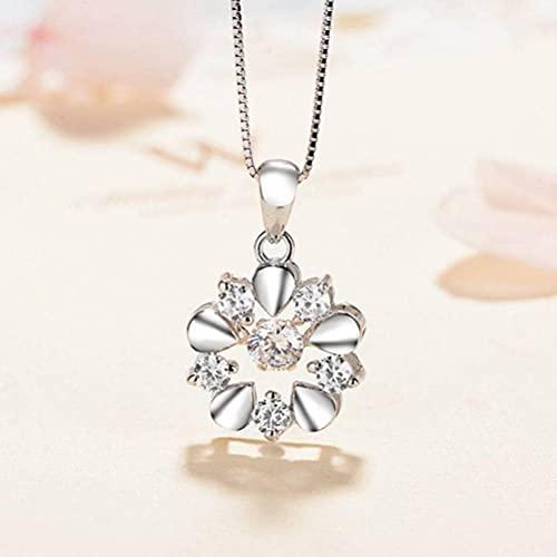 GYUFU Collar de Regalo para Mujer Colgante de Plata de Ley 925 con Micro Incrustaciones de Circón un Hermoso Collar, Colgante de Diamantes de Modadiamante blanco, Plata 925