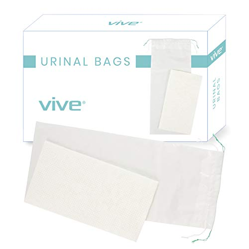 Vive Disposable Urinal Bags 20 Count  Incontinence Pee Bladder for Women and Men  Portable Urine Collection Drainage Sleeve Pad  Medical Grade Liner for Travel Bed Camping  Plastic Relief John