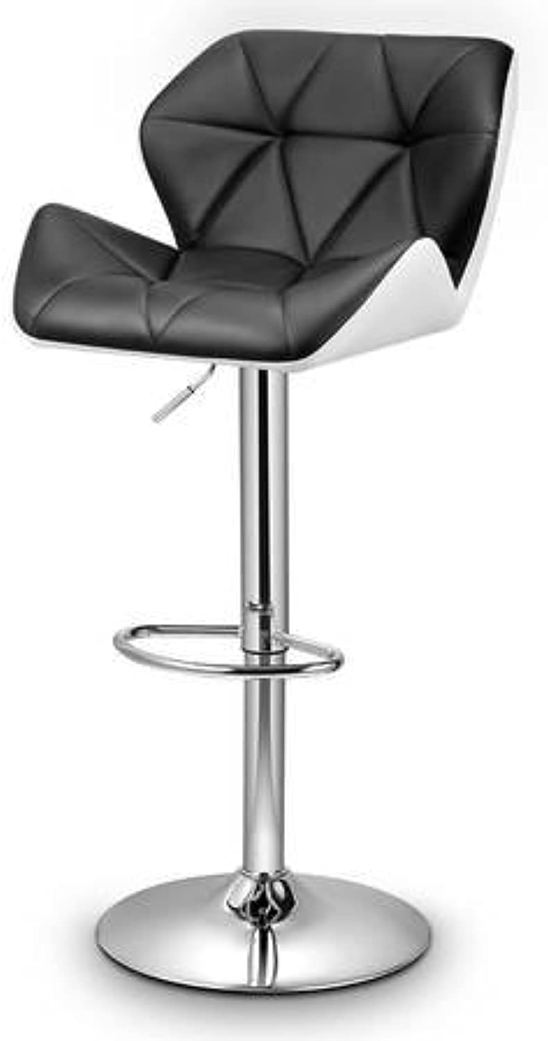 2 x New PU Leather Bar Stool Height Adjustable Kitchen Dining Chair Barstool Gas Lift - Black-White