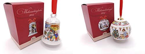 Hutschenreuther Porzellanglocke & Porzellankugel 2014 OVP - Weihnachtsglocke Weihnachtskugel
