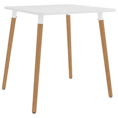 vidaXL Esstisch Küchentisch Esszimmertisch Speisetisch Tisch Esszimmer Küche Quadratisch Weiß 80x80x75cm Metall Buchenholz-Beine MDF mit PVC