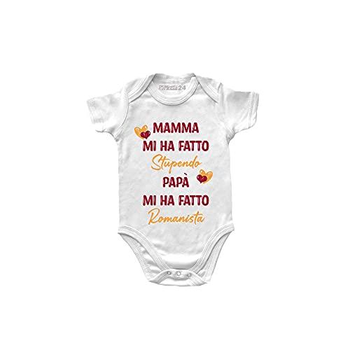 My First 24 Body Neonato Roma Divertenti a Manica Corta – Mamma Mi ha Fatto Stupendo, papà Mi ha Fatta Romanista - Body Roma Bambino Unisex 100% Cotone - BodyIdea Regalo Nascita Bimbo