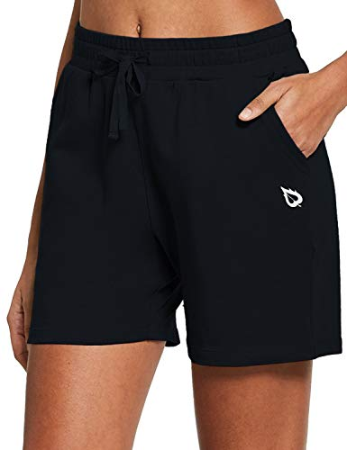 "BALEAF Women's 5"" Active Cotton Shorts Athletic Yoga Sweat Summer Casual Lounge Walking Shorts with Pockets Black Size XL"