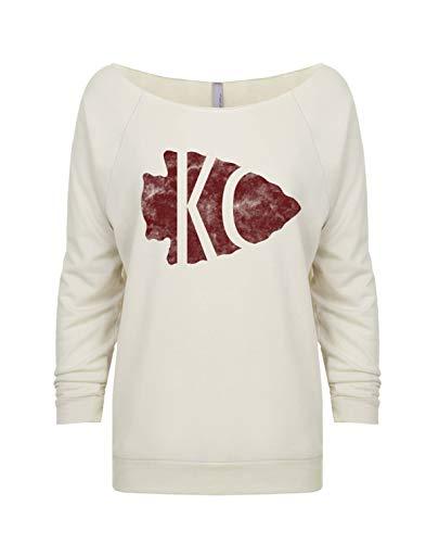 Womens Football Heart KC Light Weight Raglan Sweatshirt Kansas City Royaltee Arrowhead Shirts, White Sand, Large