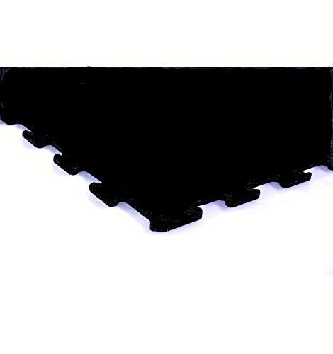 Loseta caucho tipo puzzle gimnasios 100x100cm Premium entrenamiento (Puzzle 4 mm negra)