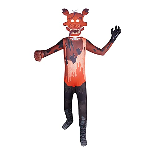 Five Nights Costume for Kids Boys Halloween Cosplay Jumpsuit with Foxy Mask for Party Roleplay 5-12 Years