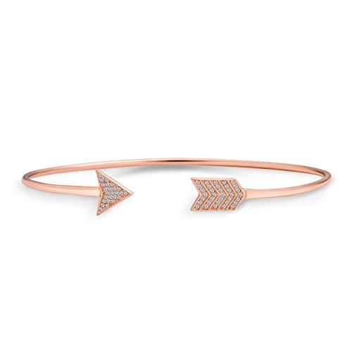 Minimalistische Pflaster Cz Liebe Pfeil Tipps Armreif Armband Für Freundin Für Frauen Für Teen Rose Gold 925 Sterling Silber