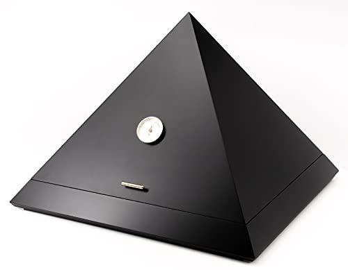 ADORINI Humidor Pyramid - Deluxe | Marken-Humidor mit vergoldetem ADORINI Deluxe Befeuchter, präzisem Haar-Hygrometer, SCHWARZ-