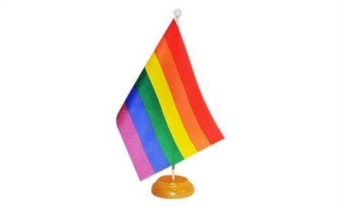 Rainbow () LGBT Pride Drapeau de table avec support en bois + 59 mm Insigne de bouton