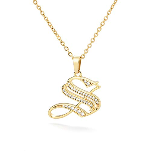 chenchen Englischer Buchstabe Initiale A-Z Goldene Halsketten für Frauen Schmuck Zirkon Alte Ketten Anhänger Charm Edelstahl S.