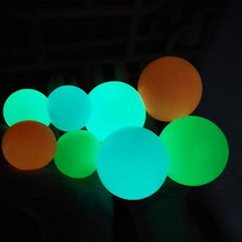 KENANLAN 8pcs Sticky Wall Balls Decompression Toys Glowing Balls Luminous Stress Relief Balls Sticky Ball Game, Stick to The Wall and Slowly Fall Off, Squishy Glow in The Dark for ADHD, OCD, Anxiety