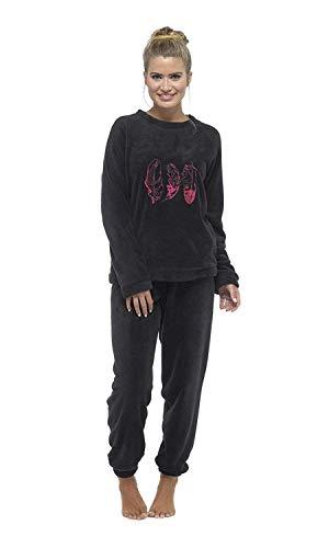 CityComfort Schlafanzug Damen Winter | Pyjama Damen Warm Flauschig | Schlafanzug Lang mit Bündchen | Nachtwäsche Zweiteiliger Schlafanzüge Weich, Elegant (S - 8/10, Schwarze und rosa Feder)
