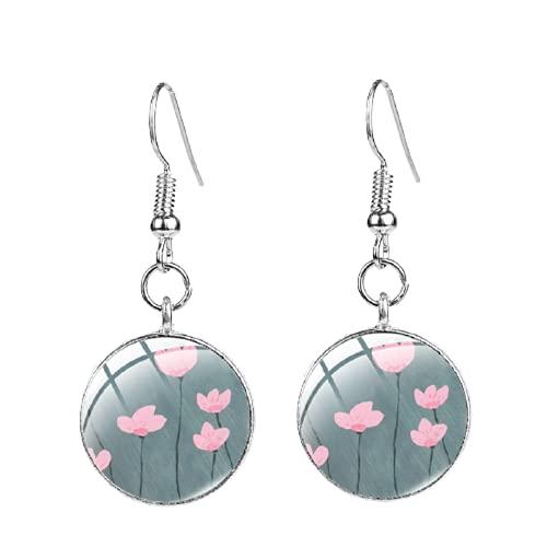 Pendiente de patrón de flores rosa tulipán de buenos deseos gancho de pescado cuelgan cúpula pendientes de gota para las mujeres joyería regalos accesorios