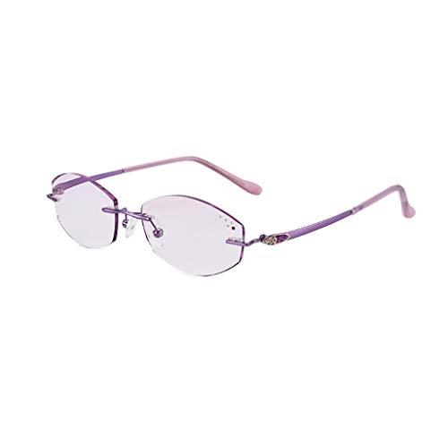 Feameless Stilvolle Lesebrille, Anti Glare, Brille, Frühlings-Scharnier, Anti Überanstrengung der Augen, Progressive multifokale, dünne Minitaschen Readers (Color : Purple, Size : 2.5)