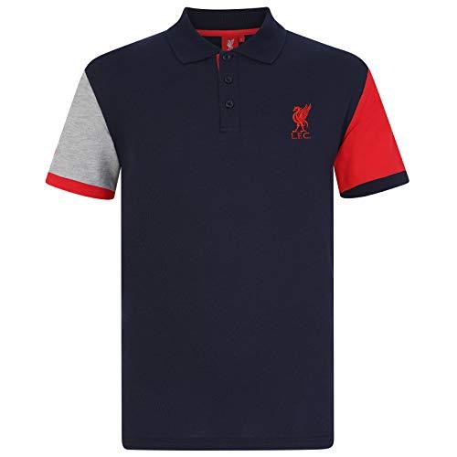 FC Liverpool Herren Polo-Shirt - Wappen - Dunkelblau mit Kontrastärmeln - XL