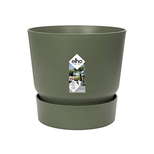 Elho Greenville 30 - Vaso da fiori rotondo, verde foglie, per esterni, Ø 29,5 x H 27,8 cm