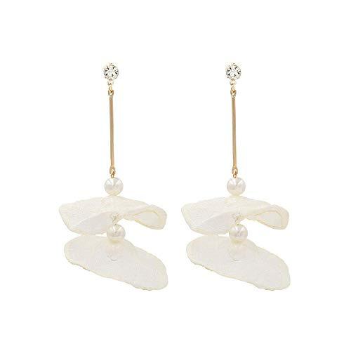 OUHUI Pendientes Extravagantes Pendientes Largos de Flores de Encaje Pendientes de Borla de Perlas de Imitación de Moda Pendientes de Gota Pendientes de Botón de Mujer para Niñas Re