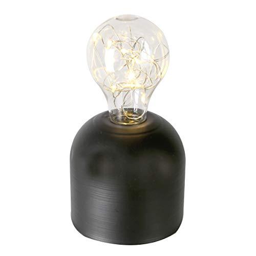 Casablanca decoratieve lamp gloeilamp met 15 LED lichtketting zwart op batterijen Retro Design modern hoogte 15 cm