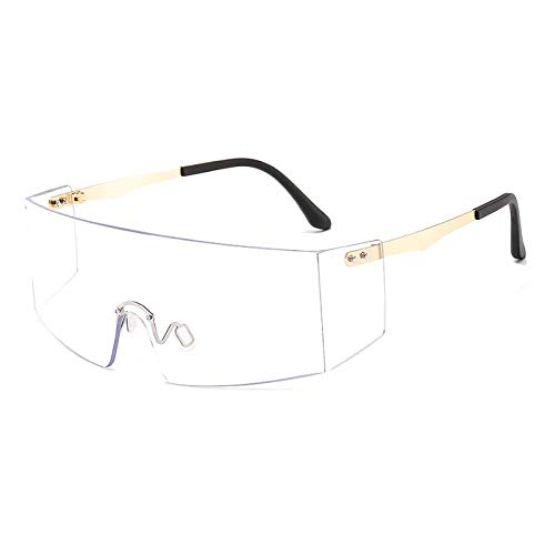 OcchialidaSoledaUomo Occhiali da Sole Senza Montatura Moda Donna Uomo Occhiali da Vista Piatti Grandi Occhiali da Sole Oversize Occhiali da Vista Femminili Occhiali da Sole Uv400 C10 Oro Chia