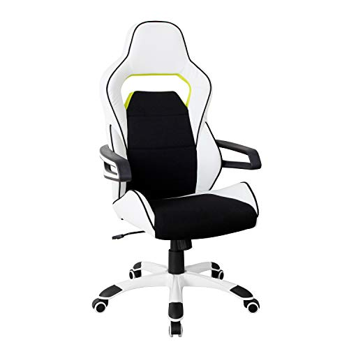 Techni Mobili Executive Ergonomic Essential Racing Style Home & Office Chair, Regular, White